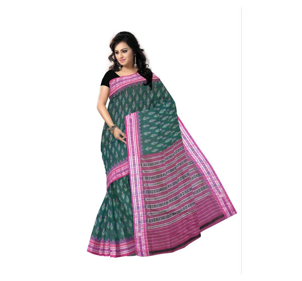 Green With Magenta Handwoven Cotton Saree-OSS9059