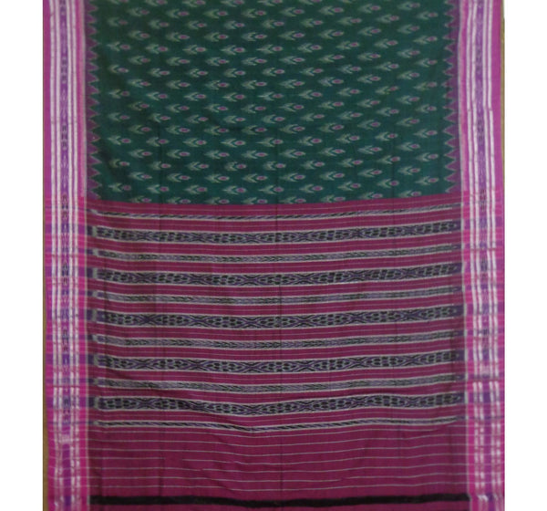 Green With Magenta Handwoven Cotton Saree