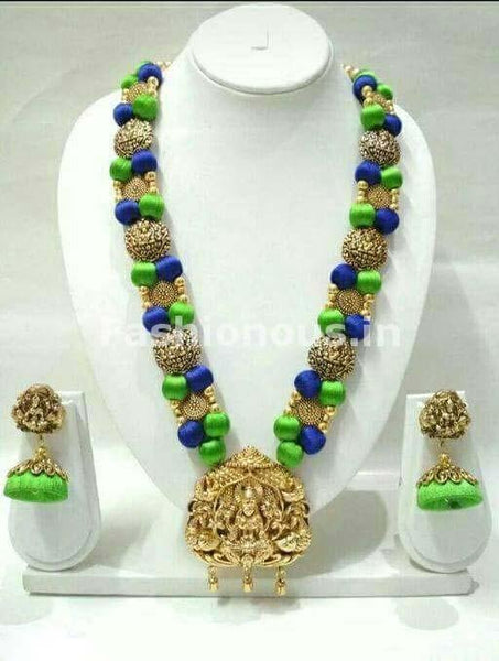 Green and Blue Silk Balls with Laxshmi Antique Pendant Silk Thread Jewellery Set-STJS-051