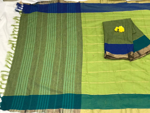 Green and Blue with Beautiful Zari and Tassel Pallu South Cotton Saree-SRE-375