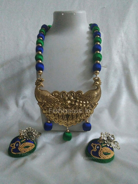 Green and Dark  Blue Peacock Silk Thread Necklace and Earrings