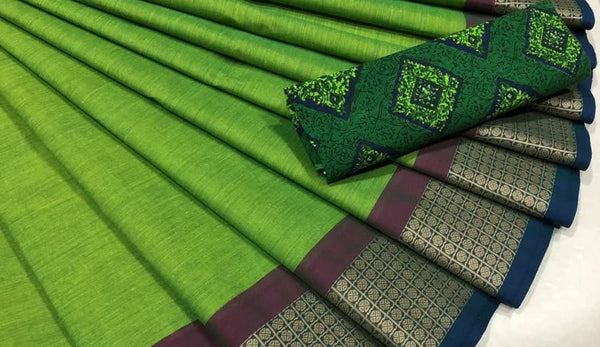 Green and Dark Blue  Pure Cotton Saree CPC 008