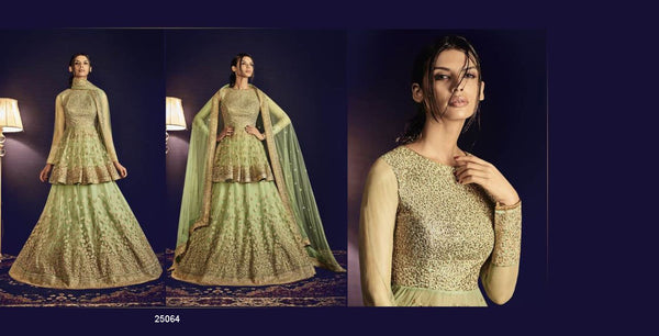 Green and Golden Embroidered Bridal Lehenga