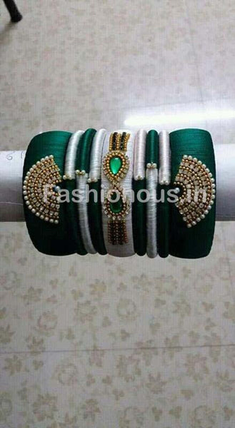 Green and Gray Silk Thread Bangle Set-STJSW-077