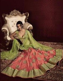Green and Pink Embroidered Bridal Lehenga