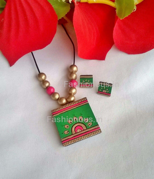 Green and Pink Floral Squared Terracotta Pendant Set-TJS-044