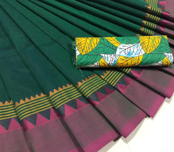 Green and Pink Pure Cotton Saree