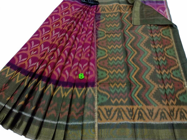 Green and Pink Ikkat Silk Cotton Saree-SRE-775