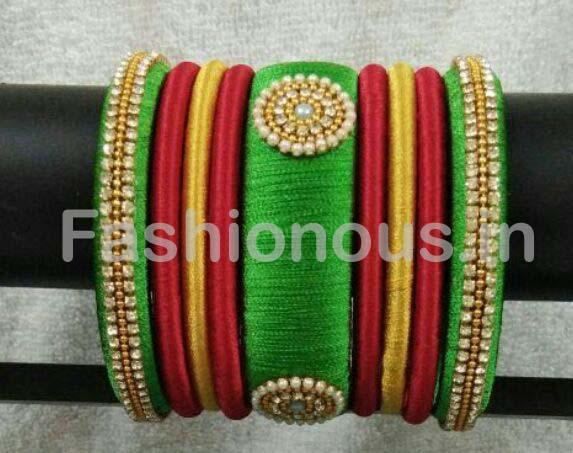 Red and Green Floral Stone Worked Silk Thread Bangle Set-STJSW-068