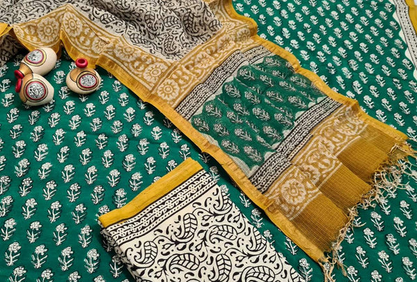 Green and Yellow Handblock Unstitched Printed Cotton Suit