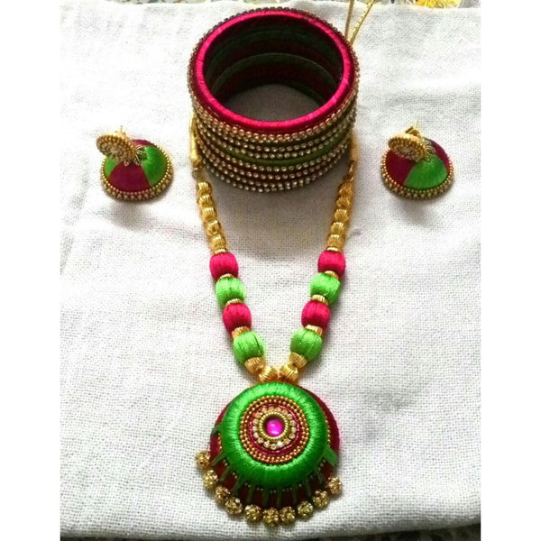 Green and Pink Silk Thread Jewellery Set