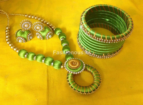 Green and Yellow Silk Thread Jewellery Set