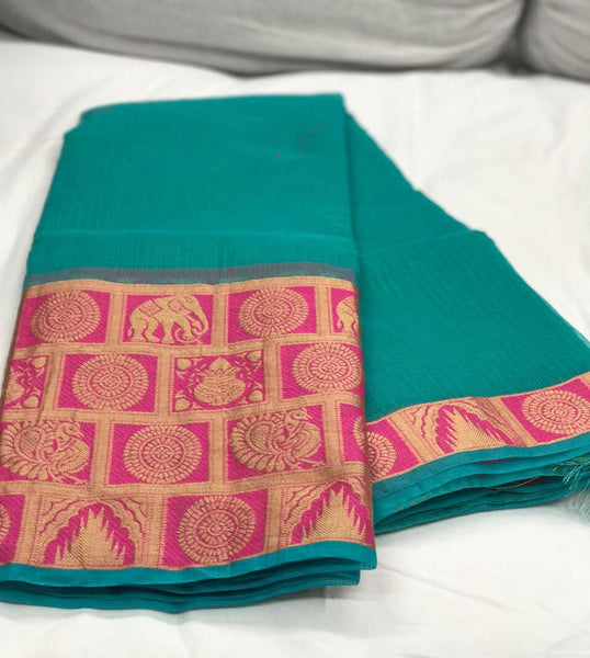 Green with Beautiful Zari and Checked Pallu Kotta Silk Saree-SRE-383