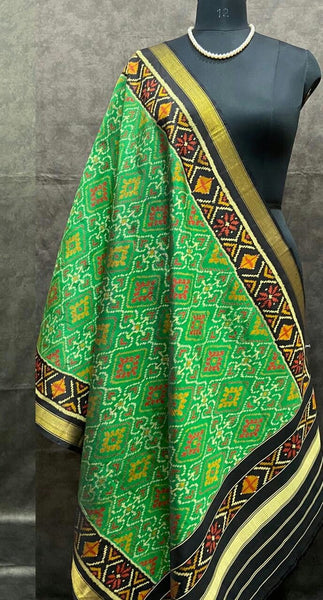 Green with Black Handwoven Pure Silk Patola Dupatta