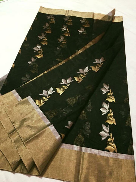 Green with Golden Floral Designed  Zari Border Chanderi Silk Saree-CHANSRE-053
