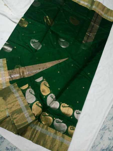 Green with Golden and Silver Mango Designed Chanderi Silk Saree-CHANSRE-038