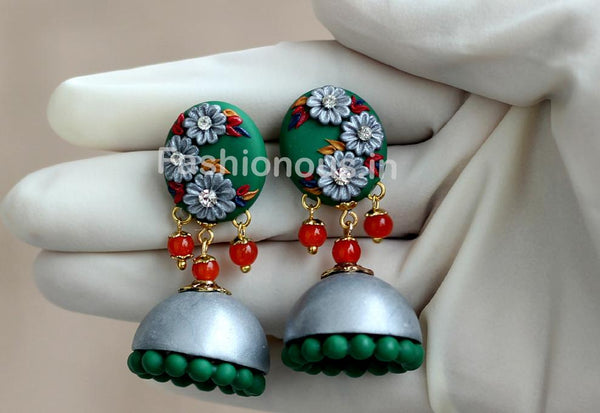 Green with Gray Floral Jhumka-ZAPCJH-006