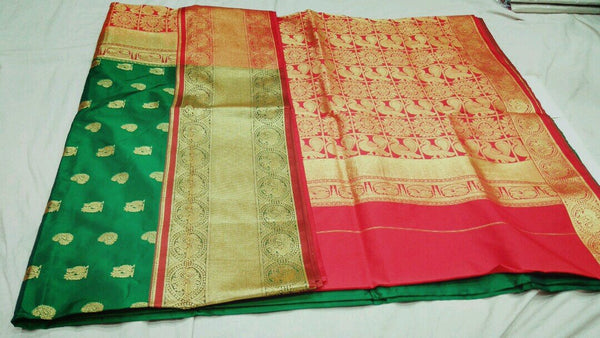 Green with Peacock Designed Red Pallu Paithani Saree-PAITHANI-030