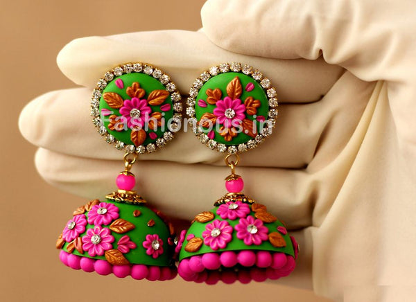 Green with Pink Floral Jhumka-ZAPCJH-019