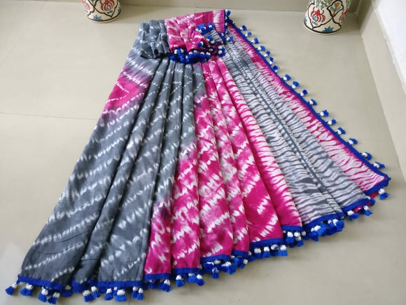 Grey-Pink Cotton Saree with Tassels-TCS049