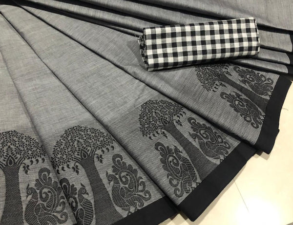 Grey Cotton Saree with Peacock Motif Border