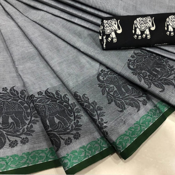 Grey Cotton Saree with Elephant Motif Border