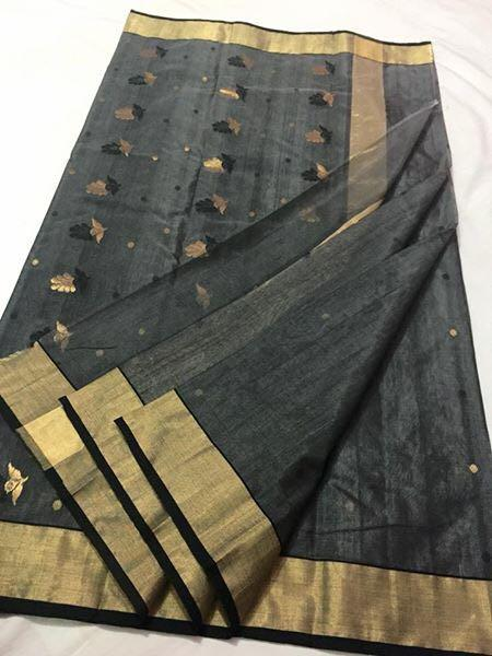 Grey with Golden and Black Floral Designed Chanderi Silk Saree-CHANSRE-065