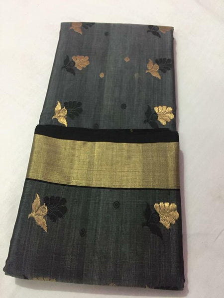 Grey with Golden and Black Floral Designed Chanderi Silk Saree