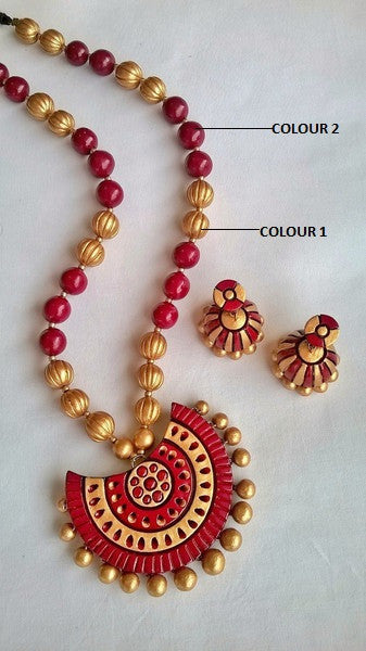 Half circle Maroon Terracotta Jewellery Set