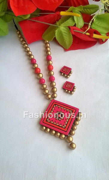 Pink and Orange Rhombus Terracotta Jewellery Set