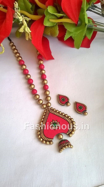 Pink and Gold Leaf Terracotta Jewellery Set