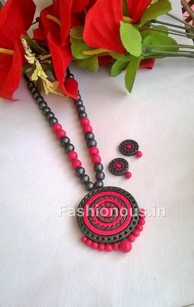 Pink and Grey Circle Terracotta Jewellery Set