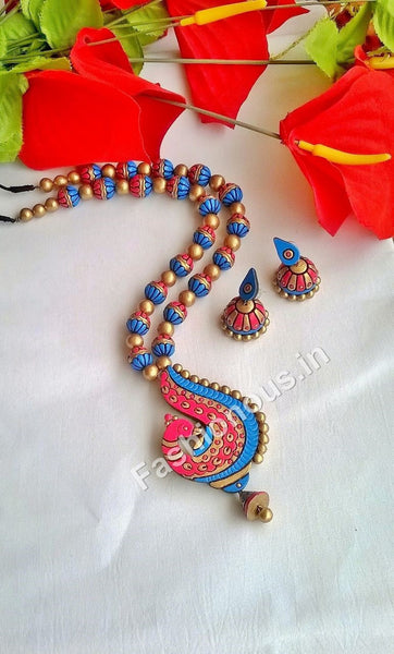 Pink and Blue Peacock Terracotta Jewellery Set