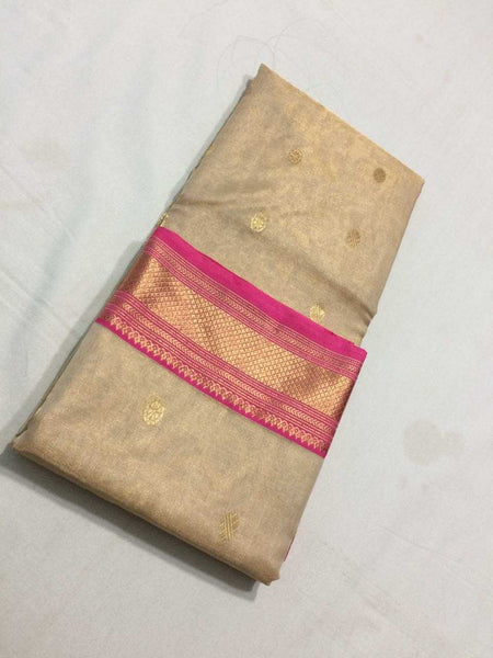 Off-White Chanderi Silk Saree With Ornate Design and Pink Border- CSH015
