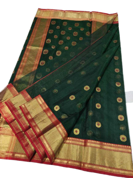 Olive Chanderi Silk Saree With Red-Gold Border and Leaf Design
