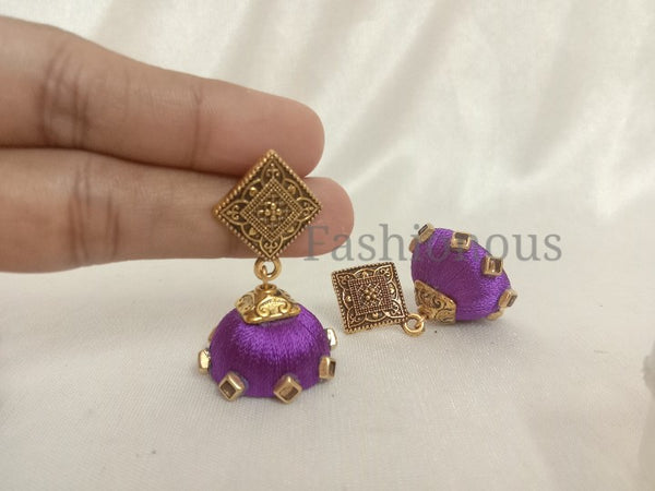 Purple silk thread earring