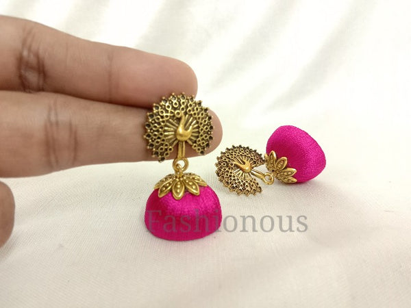 Pink silk thread earring with peacock stud
