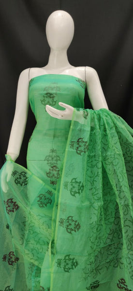 Emerald Green Printed Kota Dress material