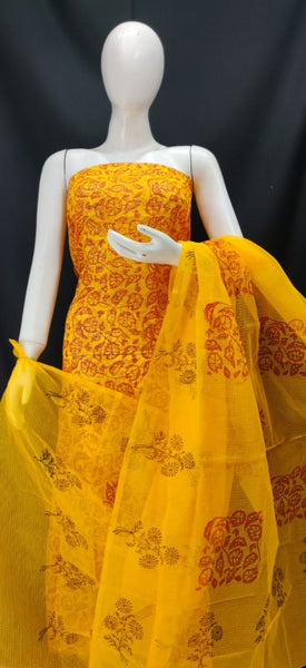 Canary Yellow Printed Kota Dress Material
