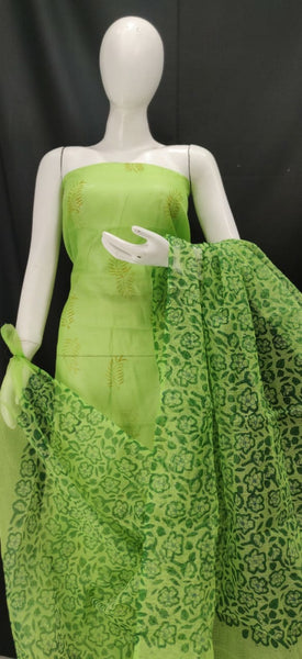 Leaf Green Printed Kota Dress Material