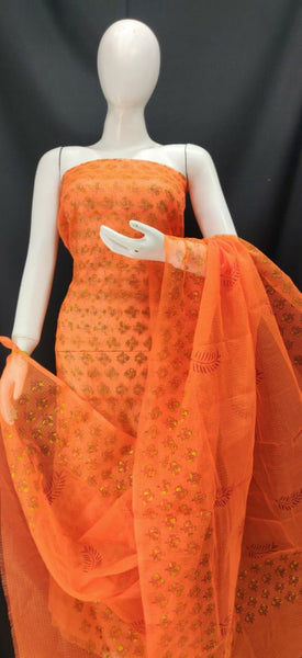 Orange Peel Printed Kota Dress Material