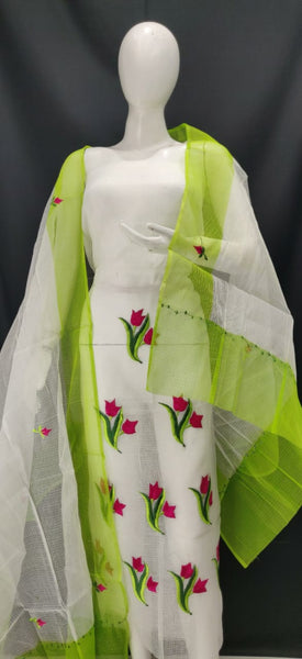 Embroidered Kota Dress Material