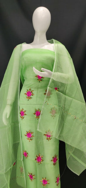 Olive Green With Pink Embroidery Kota Dress Material