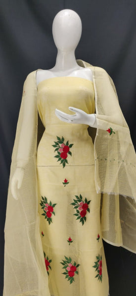 Blonde Yellow Embroidery Kota Dress Material