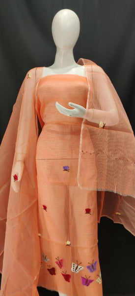 Coral Color Embroidery Kota Dress Material
