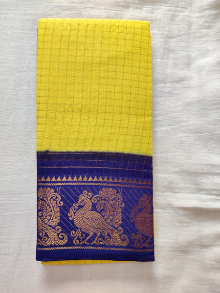Yellow With Blue Border Madurai Sungudi Saree-  Double Side Jari Border Jari Check