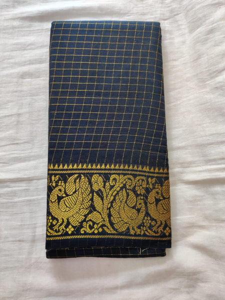 Dark Blue With Golden Border Madurai Sungudi Saree- Double side Jari Border Jari Check