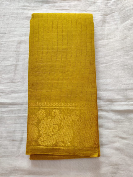 Sunshine Yellow Golder Border Madurai Sungudi Saree- Double Side Jari Border Jari Check