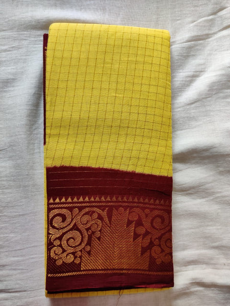 Yellow with Maroon Border Madurai Sungudi Saree- Double Side Jari Border Jari Check