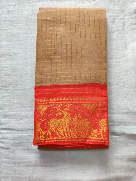 Brown With Orange Border Madurai Sungudi Saree- Double side Jari Border Jari Check